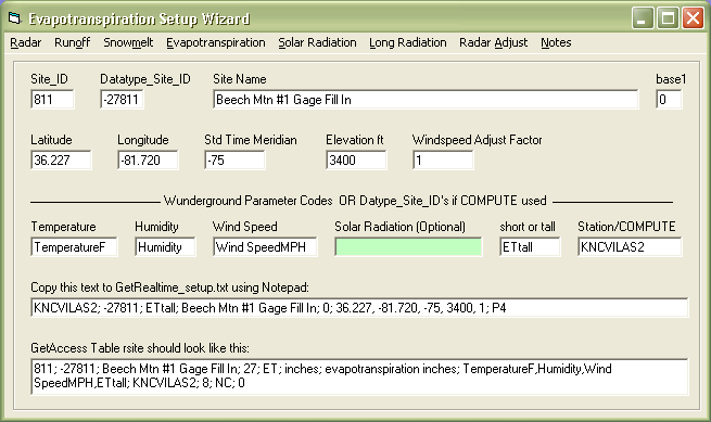 evapotranspiration coefficient setup wizard